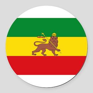 Ethiopia Flag Lion of Judah Rasta Reggae Round Car