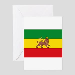 Rasta greeting cards cafepress ethiopia flag lion of judah rasta reggae greeting m4hsunfo