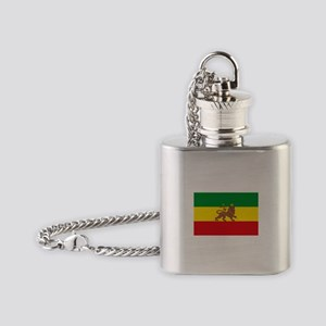 Ethiopia Flag Lion of Judah Rasta Reggae Flask Nec