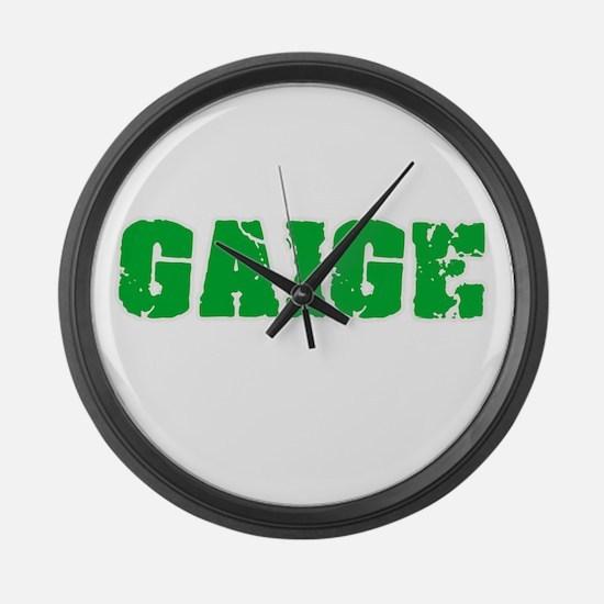 Gaige Name Weathered Green Design Large Wall Clock