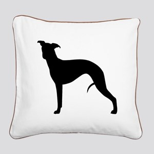 Whippet Silhouette Square Canvas Pillow