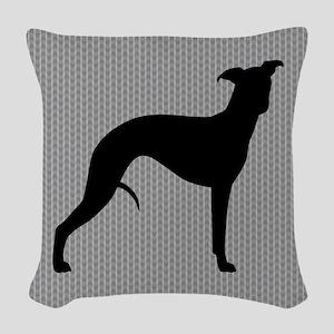 Whippet Silhouette Woven Throw Pillow