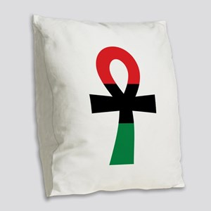 Red, Black & Green Ankh Burlap Throw Pillow