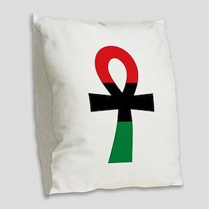 Red, Black & Green Ankh Burlap Throw Pillow