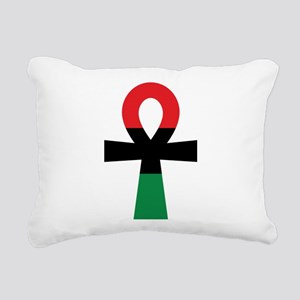 Red, Black & Green Ankh Rectangular Canvas Pillow