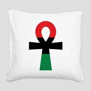 Red, Black & Green Ankh Square Canvas Pillow