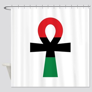 Red, Black & Green Ankh Shower Curtain