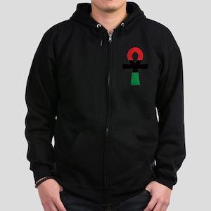 Red, Black & Green Ankh Zip Hoody