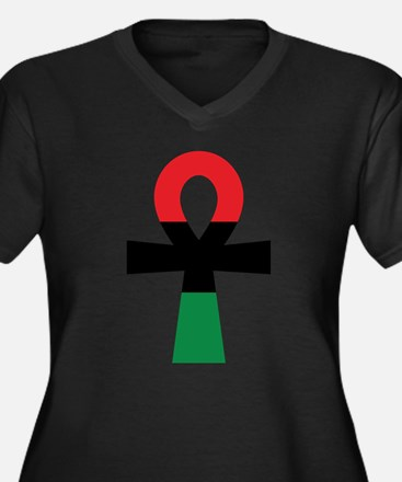 Red, Black & Green Ankh Plus Size T-Shirt