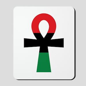 Red, Black & Green Ankh Mousepad