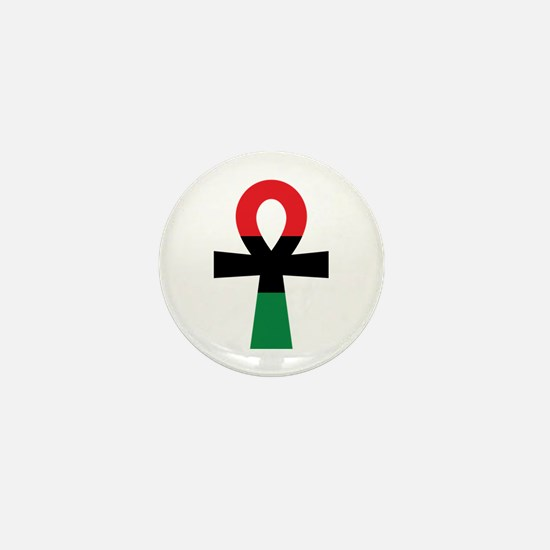 Red, Black & Green Ankh Mini Button