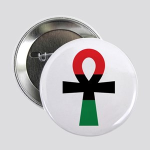 """Red, Black & Green Ankh 2.25"""" Button (10 pack)"""