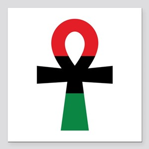 "Red, Black & Green Ankh Square Car Magnet 3"" x 3"""