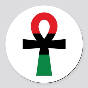 Red, Black & Green Ankh Round Car Magnet