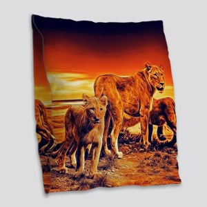 Lion Family Burlap Throw Pillow