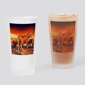 Lion Family Drinking Glass