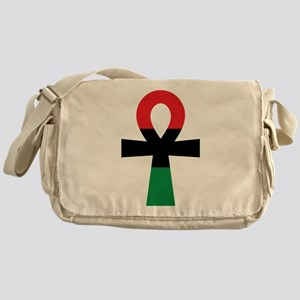 Red, Black & Green Ankh Messenger Bag