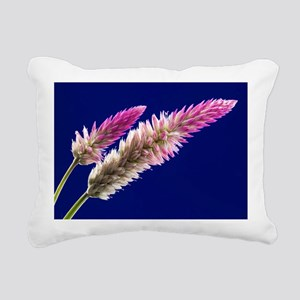 Flowers on Blue Rectangular Canvas Pillow