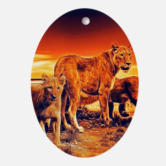 Lion Family Oval Ornament