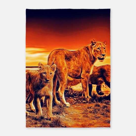 Lion Family 5'x7'Area Rug