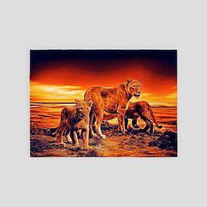 Lion Family 5'x7'Area Rug