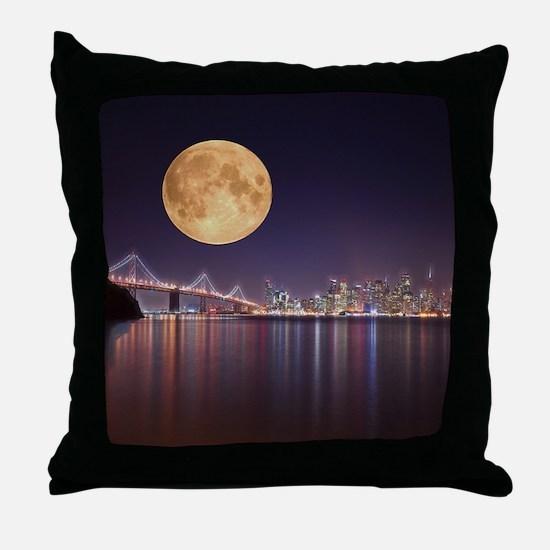 San Francisco Full Moon Throw Pillow