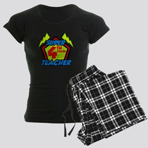 Super Fourth Grade Teacher Women's Dark Pajamas