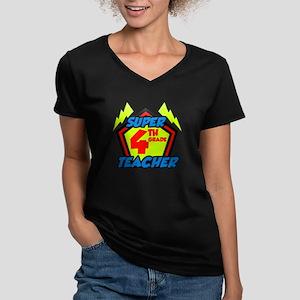 Super Fourth Grade Tea Women's V-Neck Dark T-Shirt