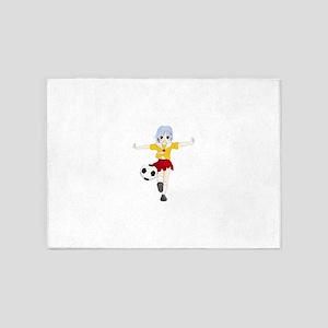 Manga girl playing soccer 5'x7'Area Rug