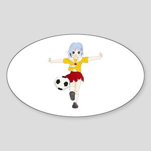 Manga girl soccer Sticker