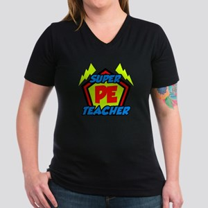 Super PE Teacher Women's V-Neck Dark T-Shirt
