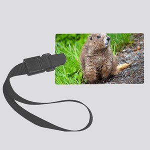 Skeptical Marmot Large Luggage Tag