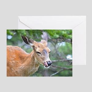 Nose Lick Deer Greeting Card