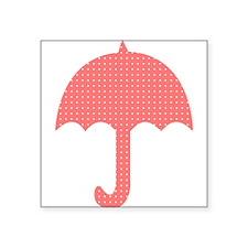 Bright Red Dotted Umbrella Digital Sticker