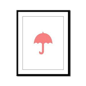 Bright Red Dotted Umbrella Digital Framed Panel Pr