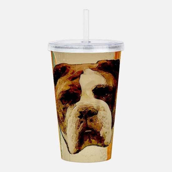 bulldog grunge tshirt Acrylic Double-wall Tumbler