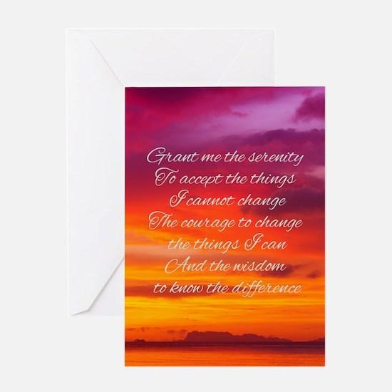 Serenity Prayer - Sunset Greeting Cards