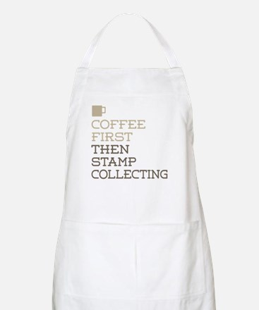Coffee Then Stamp Collecting Apron