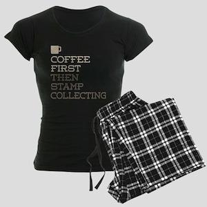 Coffee Then Stamp Collecting Women's Dark Pajamas