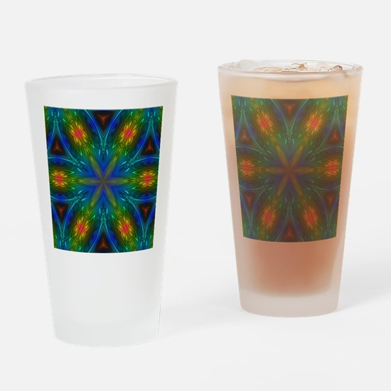 hipster peacock green mandala Drinking Glass