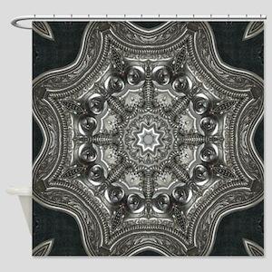 vintage astrology metal mandala Shower Curtain