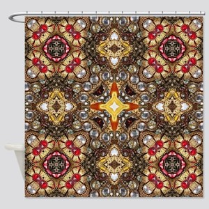 vintage gold cross scandinavian  Shower Curtain