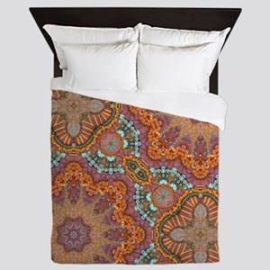 turquoise orange bohemian moroccan  Queen Duvet