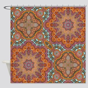 turquoise orange bohemian moroccan  Shower Curtain