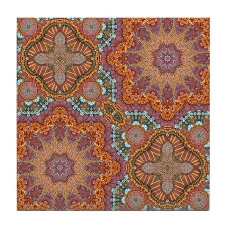 Turquoise Orange Bohemian Moroccan Tile Coaster By Listing 62325139