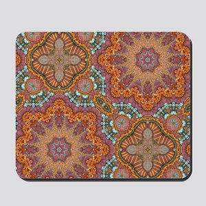 turquoise orange bohemian moroccan  Mousepad