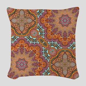 turquoise orange bohemian moro Woven Throw Pillow