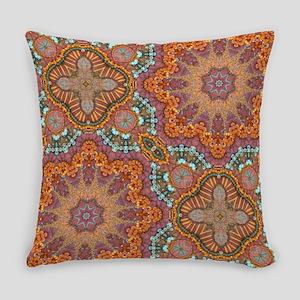 turquoise orange bohemian moroccan Everyday Pillow