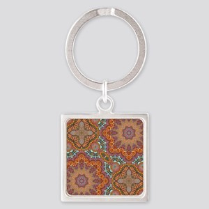 turquoise orange bohemian moroccan Square Keychain