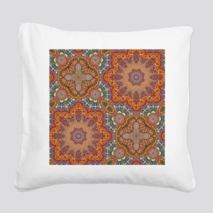 turquoise orange bohemian mor Square Canvas Pillow